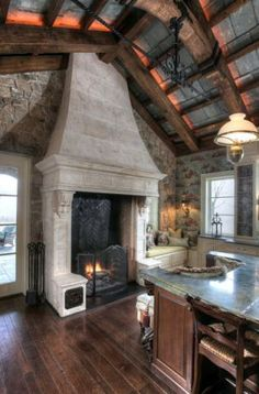 massive kitchen fireplace