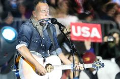 Springsteen's short, full-steam-ahead set for Clinton and Obama