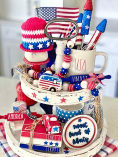 Fourth Of July Decor, 4th Of July Decorations, 4th Of July Wreath, July 4th, Holiday Parties, Holiday Fun, Holiday Decor, Tray Styling, Tiered Stand