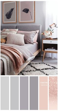 Grey And Gold Bedroom, Grey Bedroom Decor, Room Ideas Bedroom, Home Bedroom, Peach Bedroom, Mauve Bedroom, Feminine Bedroom, Decor Room, Bedroom Ideas Rose Gold