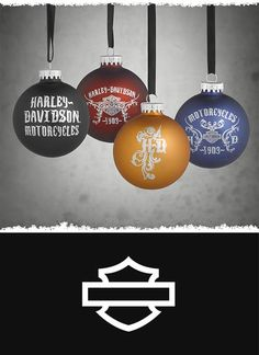 Tree trimming with this set of ornaments makes decorating a jolly task. | Harley-Davidson Set of 4 Glass Ball Ornaments