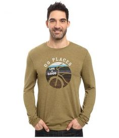 Life is good Go Places Stripes Long Sleeve Cool Tee (Woodland Green) Men's Long Sleeve Pullover