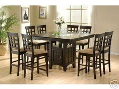 Amazon.com: Counter Height Dining Table and Chairs with Lazy Susan: Furniture & Decor