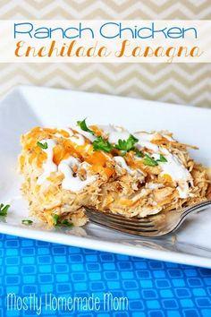 Mostly Homemade Mom: Ranch Chicken Enchilada Casserole {Crockpot}