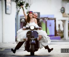 Vespa style wedding! Creative natural and hilarious wedding pictures. All the pictures were taken in the charming village of Cabo de Palos, in Southern Spain. Part of the photo album appeared in the official facebook page of Vespa. Photography Assistant and Photo Retouching: Luta Valentina Morciano - Photography: Emanuele Sangalli www.emanuelesangalli.com - Stylist: Maricarmen Hernández Toledo #photo #photograpy #photoshoot #creative #wedding #dress #gown #vespa #moto #bride #groom #wife…