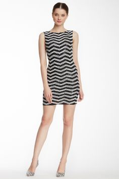 alice & olivia Sumie Sequin Stripe Fitted Dress