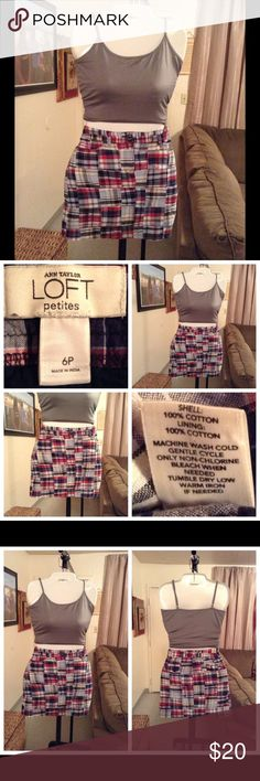 """Ann Taylor LOFT Skirt Skirt is 100% Cotton.  Size 6P.  Colors are blue/red/white/tan checkered pattern.  Length """"16.5.  Laying flat """"14.5. This item is NOT new, It is used and in Good condition. Authentic and from a Smoke And Pet free home. All Offers through the offer button ONLY.  Ask any questions BEFORE purchase. Please use the Offer button, I WILL NOT negotiate in the comment section. Thank You😃 LOFT Skirts"""
