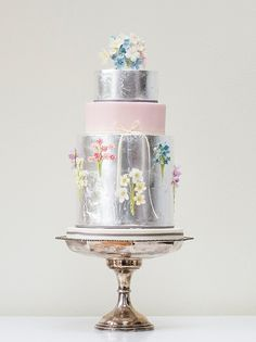 Silver leaf, pink and floral wedding cake by Rosalind Miller Cakes ~ Beautifully Decorated and Delicious Award Winning Wedding Cakes
