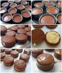 Pão de Mel 1 lata de leite condensado 1 xícara (chá) de mel ou 250 g 3 xícaras (chá) de farinha de trigo 2 colheres (sopa) de chocolate em pó - usei Callebaut (não use achocolatado) 1 colher (chá) de canela em pó 1/2 colher (chá) de cravo moído 1 colher (chá) de fermento químico 1 colher (chá) de bicarbonato de sódio 2 xícaras (chá) de leite integral  Em forma 35x23 rende 32un de 4x4 ou 12 individuais na forma nº 0: