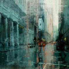 Jeremy Mann. This guy creates mind-blowing atmospheres with minimal colors and strokes. A true master of cityscapes. For instance: Look closely at the street and its reflections here. Seemingly so easy to paint . . . but creating believable images like this takes MAD skills.