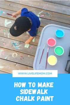 This sidewalk chalk paint activity was one of my favourite things to do with Little J last Summer. Little N was only about 2 months old and I needed an activity to keep him busy… Summer Activities For Kids, Summer Kids, Diy For Kids, Edible Finger Paints, Sidewalk Chalk Paint, Painting Activities, Frugal Family, Outdoor Paint, Finger Painting