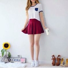 T-shirt + peplum skirt + sneakers