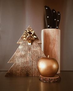 The #kitchen #decors second version! #wood #Apple #knife #gold #merrychristmas #christmas