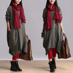Women cotton linen casual loose fitting dress