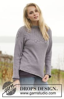 """Knitted DROPS jumper with lace pattern and round yoke in """"BabyAlpaca Silk"""". Size S - XXXL ~ DROPS Design"""