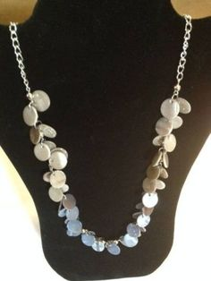 Silver-Colored-Chain-with-Stone-Discs-Fashion-Necklace-D-N-7