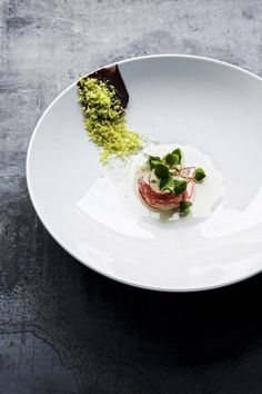 Lobster dish | Iñaki Aizpitarte. This is the dish he did for us at Cook it Raw 2 in the Collio. The dark smear on the left is puréed raw liver with grated pistachio clinging to it. Brilliant!