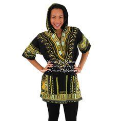 f95470ddc43 Kenyan Traditional Print Dashiki Hoodie (Black)