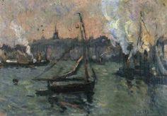 Robert Antoine Pinchon - Bateaux de pêche au port