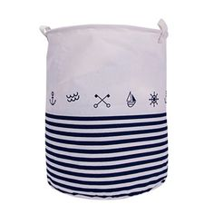 Stripe Anchor Round Laundry Hamper Bag with Handle Cotton Lining Portable Dirty Cloth Sorter Without Lid Storage for Home Lid Storage, Storage Containers, Laundry Organizer, Laundry Hamper, Special Deals, Multifunctional, Anchor, Handle, Bag