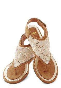 Belize It Or Not Sandal - Flat, Faux Leather, Woven, Tan / Cream, Crochet, Beach/Resort, Boho, Summer, Better, Festival, Cream, Casual