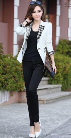 Nuevo 2014 mujeres del resorte de Color chocolate fino a cuadros un botón chaquetas mujer Vestidos chaqueta prendas de vestir exteriores Jaqueta Feminina trajes en Blazers de Moda y Complementos Mujer en AliExpress.com | Alibaba Group
