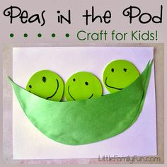 """This week I'll be posting about our theme """"Fruits & Vegetables.""""   The first activity is this easy Pea-Pod craft!   LB had so much ..."""