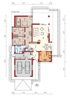 DOM.PL™ - Projekt domu AC Liv 3 G2 CE - DOM AF1-97 - gotowy koszt budowy My House Plans, House Layout Plans, House Layouts, Villas, Modern House Design, Floor Plans, How To Plan, Bungalows, Dreams