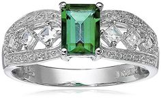 Sterling Silver EmeraldCut Created Emerald Ring Size 8 >>> Find out more about the great product at the image link. (This is an affiliate link) White Sapphire, Emerald Cut, Princess Cut, Birthstones, Jewelry Collection, Jewelry Making, Sterling Silver, Detail, Create