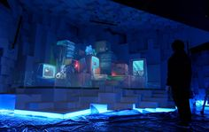 Projection mapped cubed space at World Expo, Yeosu Korea.