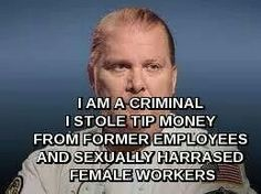 This speaks for itself, because he actually did steal tip money.... From his own customers!!