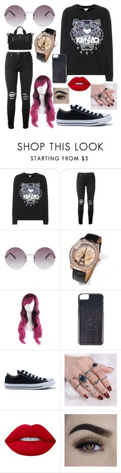 """""""KENZO LOOK"""" by carmen-41-navarro on Polyvore featuring Kenzo, AMIRI, OXYDO, Converse and Lime Crime"""