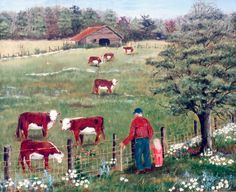 Country Cows Pasture Barn Man Fence Ball Cap Red Shirt Jeans Blond Girl Pecan Tree Daisies Flowers Folk Art Print by Arie Reinhardt Taylor by jagartist on Etsy