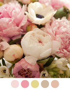 Pastel Flowers...yes for the bridal shower. Not too many maybe 3 small arrangements and 1 large?