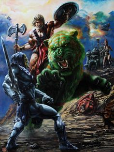 The King Of Castle Grayskull   SiMo Sol - Follow Artist on Facebook    Masters of the Universe (commonly abbreviated MOTU and sometimes referred to as He-Man after the lead hero) is a media franchise created by Mattel. The main premise revolves around the conflict between the heroic He-Man real name Prince Adam and the evil Skeletor on the planet Eternia with a vast line-up of supporting characters in a hybrid setting of medieval sword and sorcery and sci-fi technology. Later spin-offs…