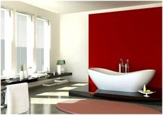 Red accent wall color for bathroom