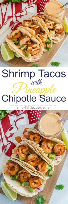 Easy Shrimp Tacos with Pineapple Chipotle Sauce ~ Made with saute shrimp, slaw, avocado, tomato-jalapeño salsa, and topped with a pineapple chipotle sauce. These shrimp tacos are a fast and flavorful weeknight dinner with a sweet and spicy kick. by janell Fish Recipes, Seafood Recipes, Mexican Food Recipes, Cooking Recipes, Healthy Recipes, Smoker Recipes, Cooking Tips, Recipies, Cabbage Recipes