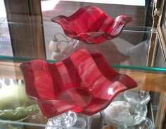 Red Bowl or Shallow Vase Fused Glass by GlitterbirdGlass on Etsy, $50.00