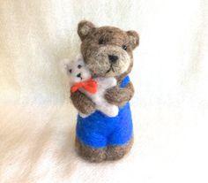 Needle felted Bear felting animal cub FREE SHIPPING by Felt4Soul, $23.00