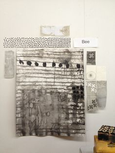 My wall in Dorothy Caldwell's Human Marks Workshop Ohio 2014