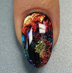 Foil encapsulated gel #nailart.  Isn't this design awesome? #soakoffgel