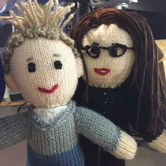 Meet mini Ben and Nia knitted by listener Jacqueline. We love them!
