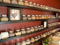 Wall of spices! There are 4 shelves, and I counted 76 different spice containers up there. Sixty-eight of those are the Rajtan jars from IKEA that come in packs of 4 jars. The shelves are Ribba picture ledges, also from IKEA. Spice Storage, Spice Organization, Ikea Storage, Storage Hacks, Spice Racks, Spice Shelf, Storage Ideas, Wall Spice Rack, Storage Solutions