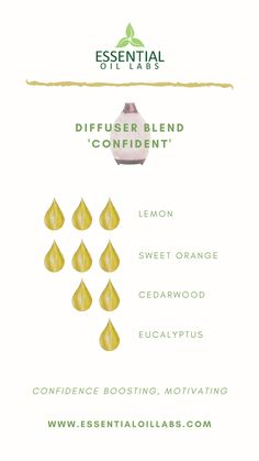 'Confident' Diffuser Blend by Essential Oil Labs using lemon essential oil, orange essential oil, cedarwood essential oil and eucalyptus essential oil. Essential oil diffuser blend to build confidence. Best Smelling Essential Oils, Essential Oil Scents, Essential Oil Perfume, Essential Oil Diffuser Blends, Lemon Essential Oils, Mixing Essential Oils, Cedarwood Essential Oil Uses, Grounding Essential Oil, Essential Oil Candles