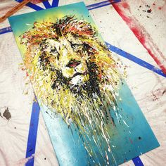 "Abstract Lion Head , acrylic on panel , 24"" x 48"" #brent_estabrook #art #painting http://www.facebook.com/estabrookart"