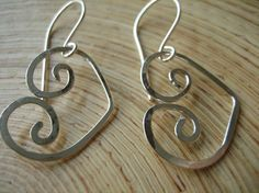 Hand formed and hammered sterling silver with hand crafted ear wires. Sweet Heart Earrings Sterling Silver Handcrafted by go2girl