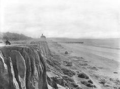 SANTA MONICA:  Santa Monica beach and the Palisades, as viewed from the 99 Steps in 1889. Old photos of LA and the surrounding areas.