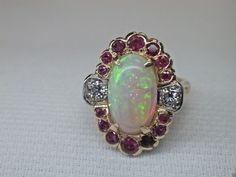 Antique Vintage Retro Diamond Opal Ruby Engagement Ring 14K Sz-5.25 UK-K Estate…