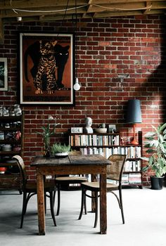 Brick wall and reclaimed wood