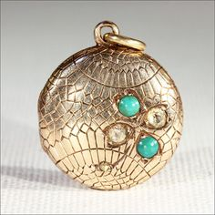 Lovely 18k Gold Turquoise and Diamond Locket with Inscription, Dated 1899